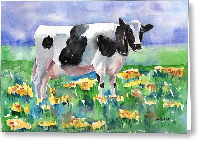 Cow Paintings Greeting Cards - Cow In The Meadow Greeting Card by Arline Wagner