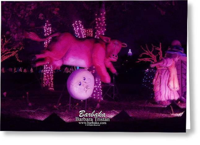 Cow Jumped Over The Moon Greeting Card by Barbara Tristan