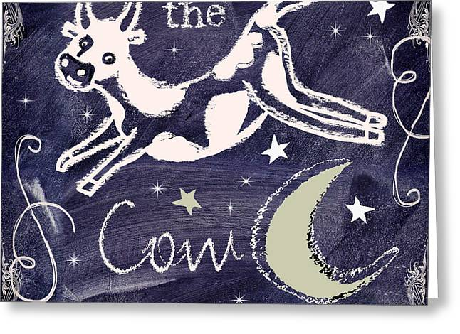 Wishes Greeting Cards - Cow Jumped Over the Moon Chalkboard Art Greeting Card by Mindy Sommers