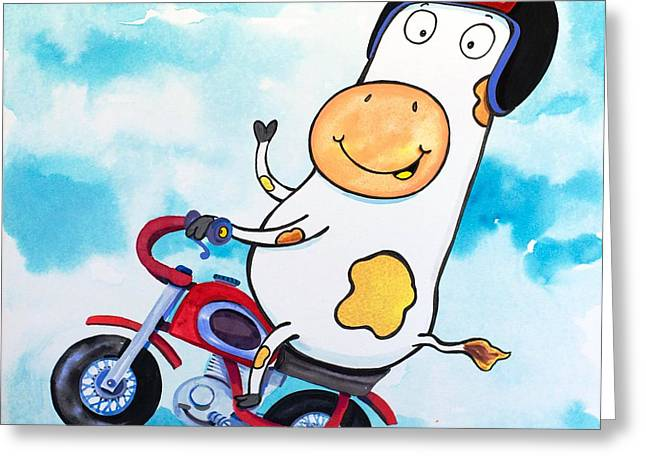 Cow Motocross Greeting Card by Scott Nelson
