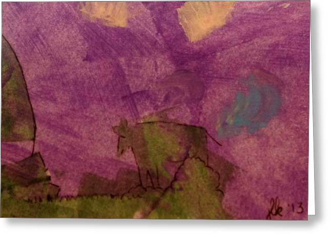 Ledge Mixed Media Greeting Cards - Cow On the Edge Greeting Card by Lori Kingston