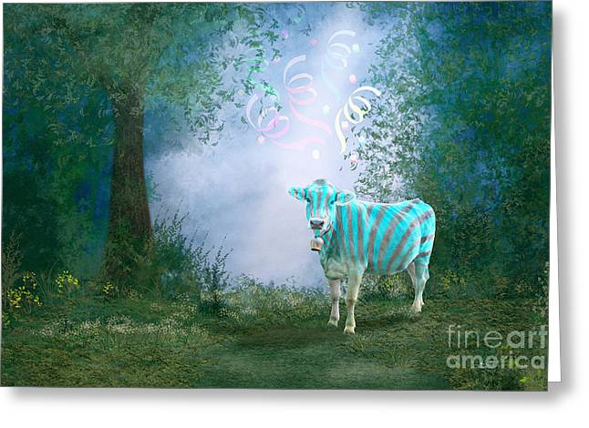 Fantasy Tree Greeting Cards - Cow on the Way to Carnival Greeting Card by Jutta Maria Pusl