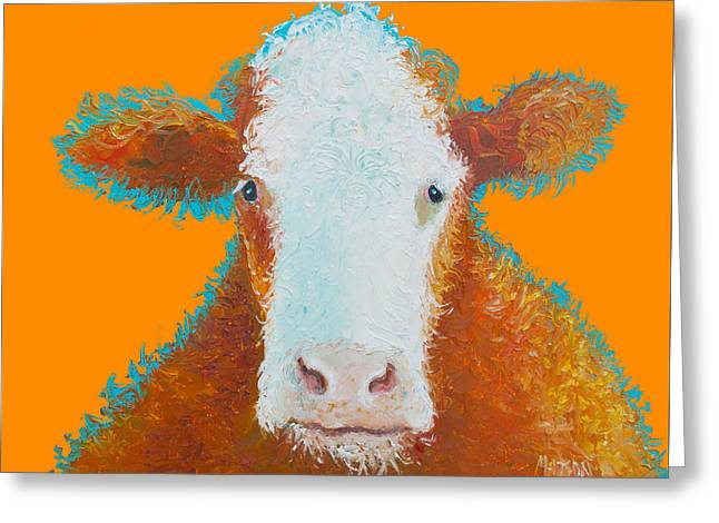 Cow Painting - Brown Hereford Greeting Card by Jan Matson