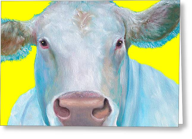 White Paintings Greeting Cards - Cow painting - Charolais cattle Greeting Card by Jan Matson