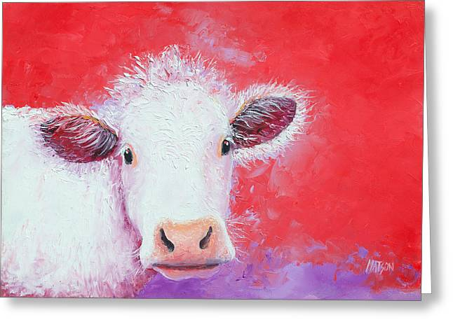Kitchen Wall Paintings Greeting Cards - Cow painting - Charolais Greeting Card by Jan Matson