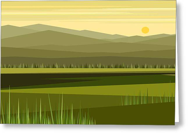 Minimalist Landscape Greeting Cards - Cow Pass Spring Greeting Card by Val Arie