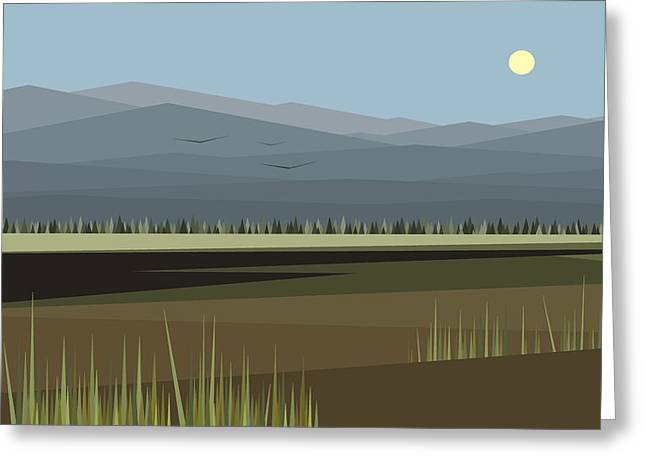 Minimalist Landscape Greeting Cards - Cow Pass Under a Blue Sky Greeting Card by Val Arie