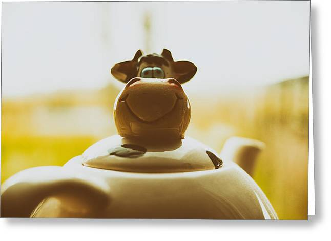 Essential Greeting Cards - Cow Teapot Greeting Card by Skitterphoto