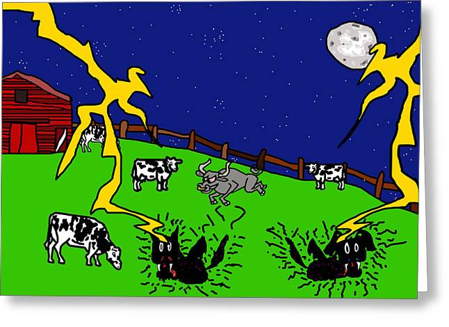 Sneaky Greeting Cards - Cow Tipping Greeting Card by Jera Sky