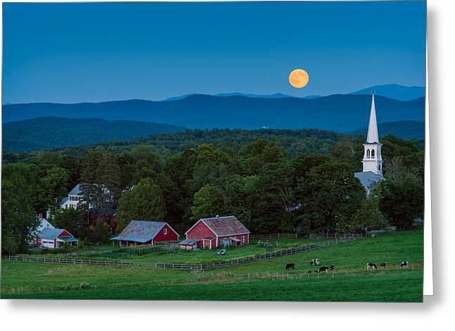 Moonrise Greeting Cards - Cow Under the Moon Greeting Card by Michael Blanchette