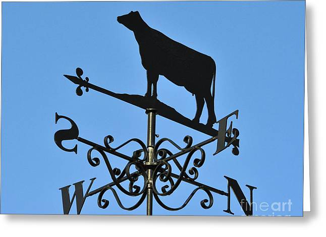 Weathervane Greeting Cards - Cow weathervane. Greeting Card by Stan Pritchard