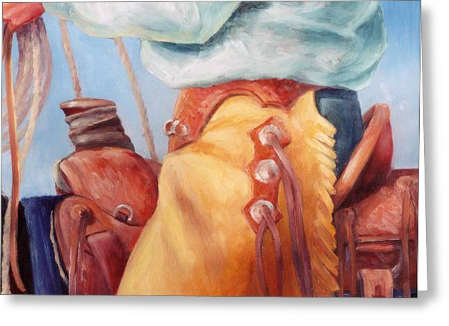 Cowboy Greeting Cards - Cowboy Armor Western Cowboy Oil Painting Greeting Card by Kim Corpany