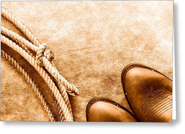Cowboy Boots And Lasso - Sepia Greeting Card by Olivier Le Queinec