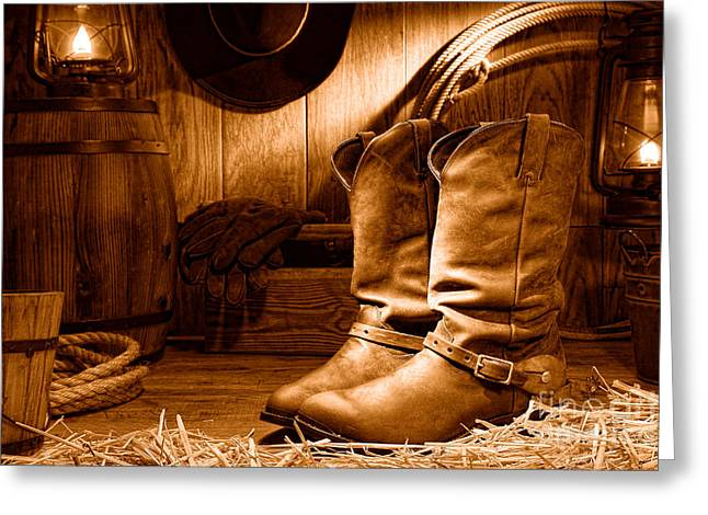 Cowboy Boots In A Ranch Barn - Sepia Greeting Card by Olivier Le Queinec