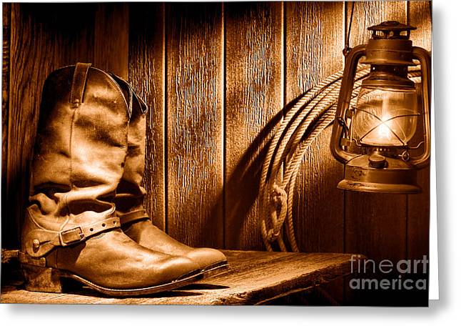 Cowboy Boots In Old Barn - Sepia Greeting Card by Olivier Le Queinec