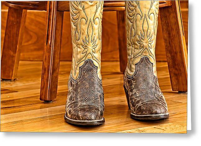 Bar Accessory Greeting Cards - Cowboy Boots Greeting Card by Maria Coulson