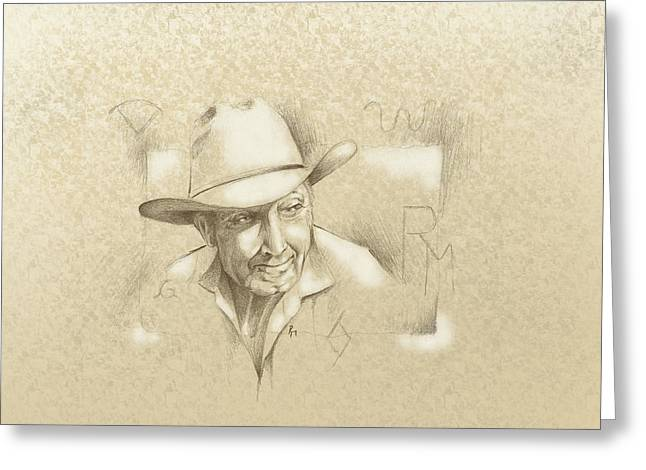 Chicano Art Greeting Cards - Cowboy Brand Greeting Card by Robert Martinez