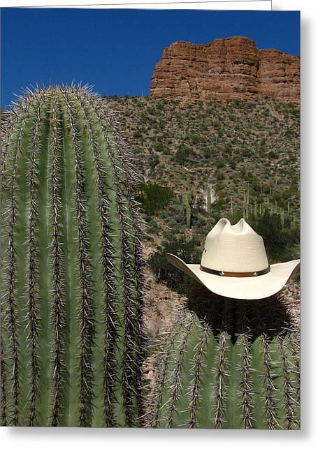 Arizona Cowboy Greeting Cards - Cowboy Cactu s Greeting Card by Andrea Arnold