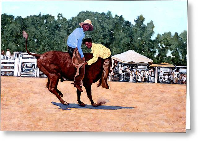 Bull Riding Greeting Cards - Cowboy Conundrum Greeting Card by Tom Roderick