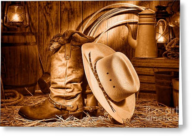 Cowboy Gear In Barn - Sepia  Greeting Card by Olivier Le Queinec