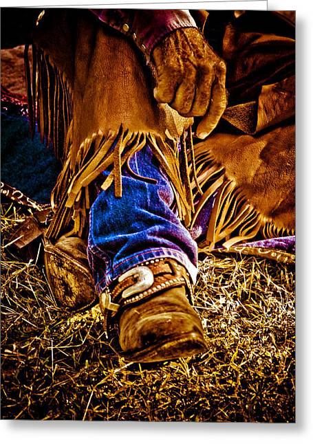 American Cowboy Gallery Greeting Cards - Cowboy Gold Greeting Card by Toni Hopper