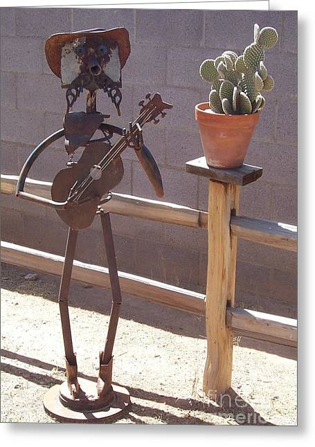 Steel Sculptures Greeting Cards - Cowboy Guitar Greeting Card by JP Giarde