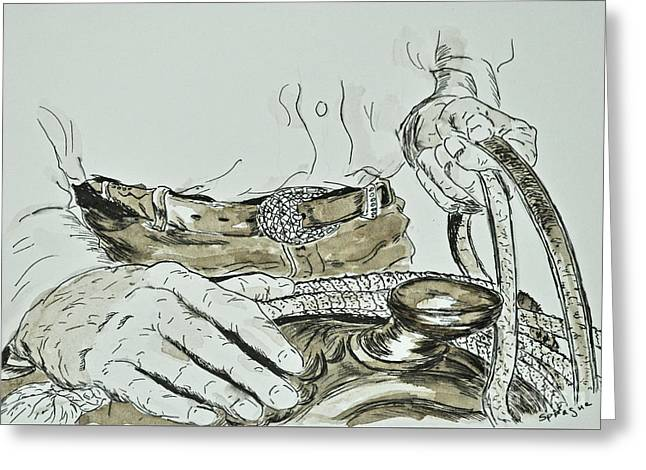 Rope Drawings Greeting Cards - Cowboy Hands Greeting Card by Judy Sprague
