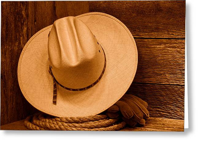 Cowboy Hat And Gear - Sepia Greeting Card by Olivier Le Queinec