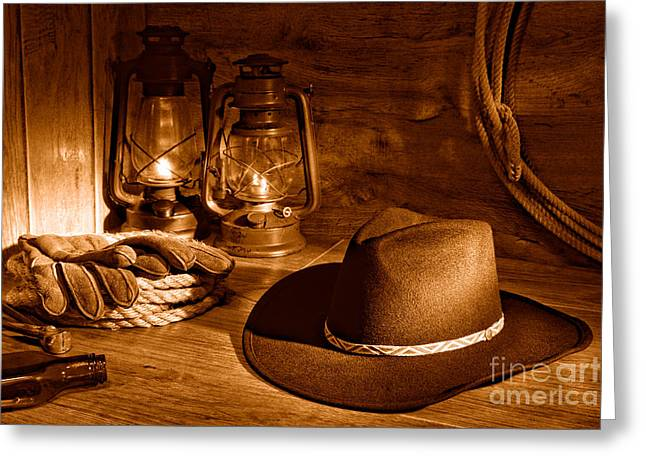 Cowboy Hat And Kerosene Lanterns - Sepia Greeting Card by Olivier Le Queinec
