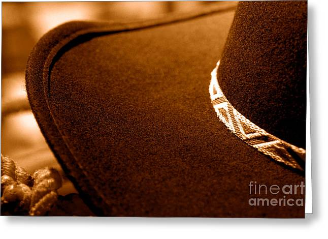 Cowboy Hat Detail - Sepia Greeting Card by Olivier Le Queinec