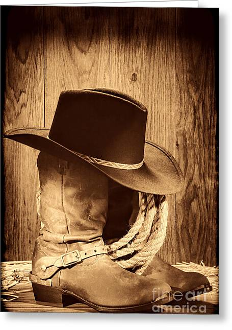 Old Western Photos Greeting Cards - Cowboy Hat on Boots Greeting Card by American West Legend By Olivier Le Queinec
