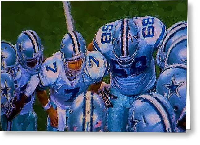Pro Football Digital Greeting Cards - Cowboy Huddle Greeting Card by Steven Richardson