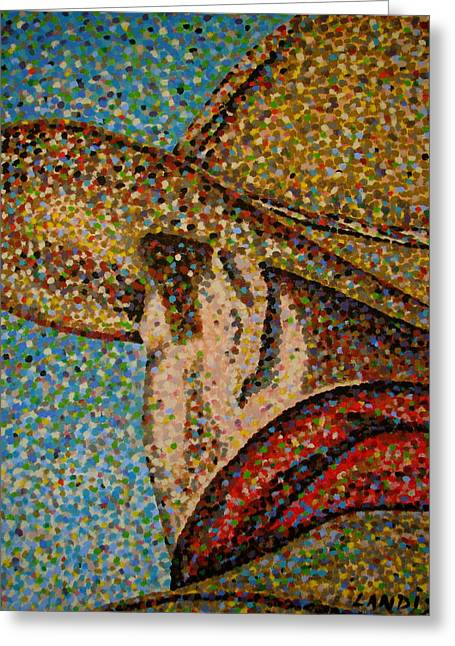 Sideburns Paintings Greeting Cards - Cowboy I Greeting Card by Denise Landis