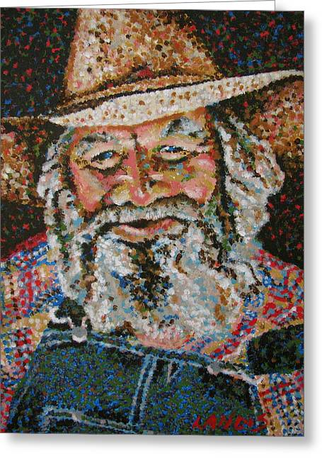 Straps Paintings Greeting Cards - Cowboy II Greeting Card by Denise Landis