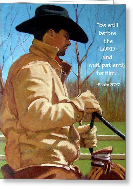 Bible Pastels Greeting Cards - Cowboy in Pastel with Scripture Verse Greeting Card by Joyce Geleynse