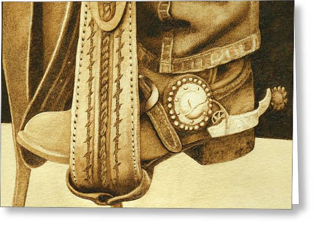 Boots Pyrography Greeting Cards - Cowboy in Stirrup Greeting Card by Cate McCauley