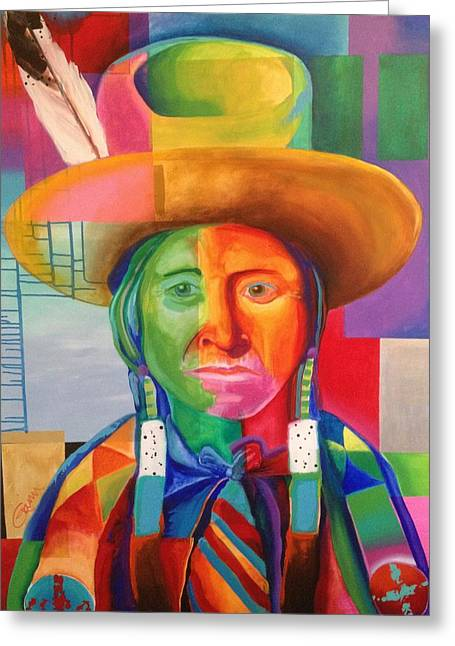 People Paintings Greeting Cards - Cowboy Indian Greeting Card by Crimson Shults