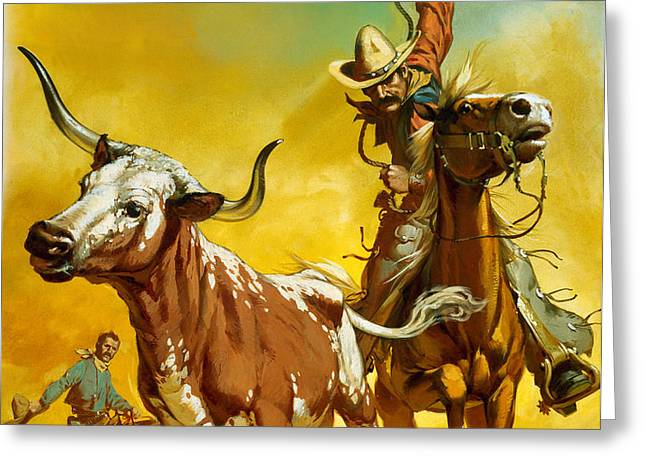 Cowboy lassoing cattle  Greeting Card by Angus McBride
