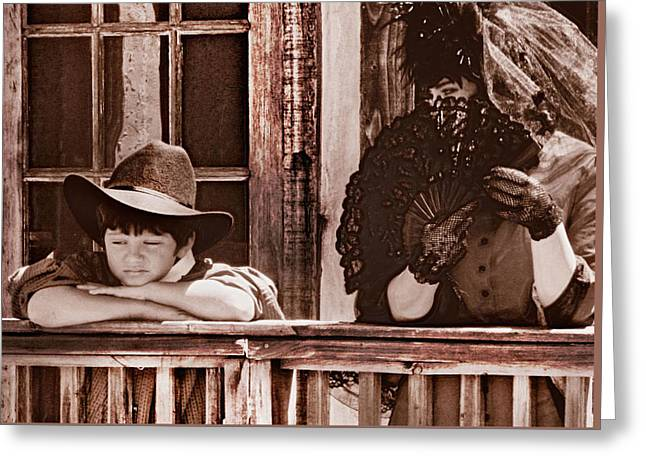 Old Western Photos Digital Greeting Cards - Cowboy Livin Aint Easy Greeting Card by Wendy Martinez