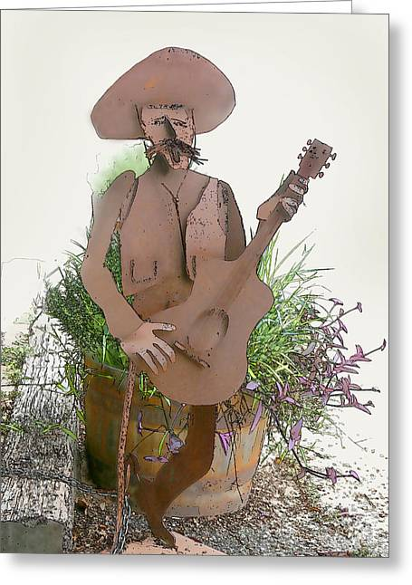 Western Culture Greeting Cards - Cowboy Metal Scupture Greeting Card by Linda Phelps