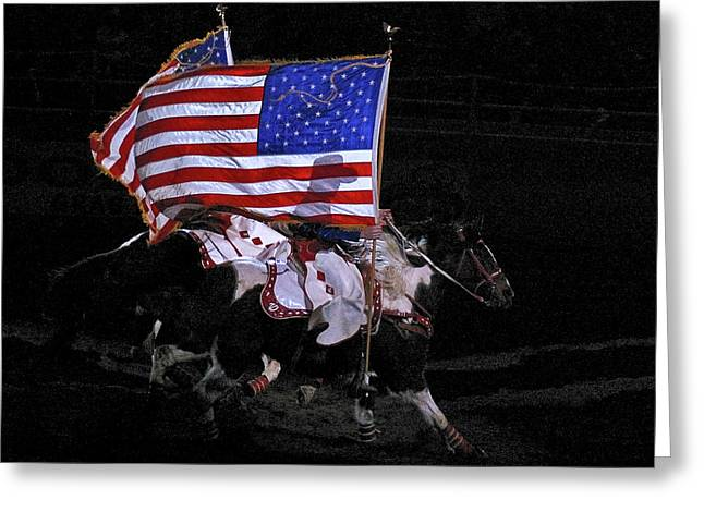 Cowboy Patriots Greeting Card by Ron White