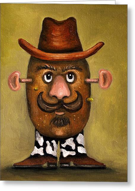 Mustache Greeting Cards - Cowboy Potato Head Greeting Card by Leah Saulnier The Painting Maniac