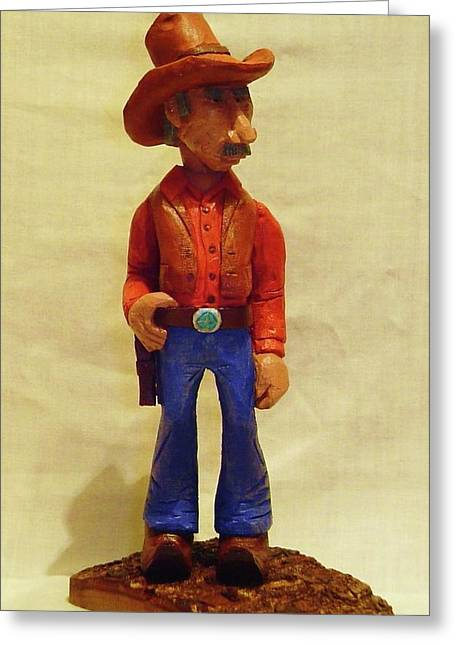 Woodcarving Sculptures Greeting Cards - Cowboy Rancher Greeting Card by Russell Ellingsworth