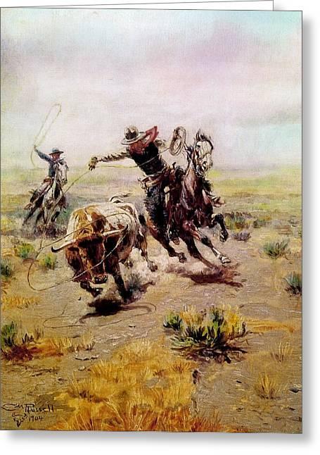 Cowboys Roping A Steer Greeting Cards - Cowboy Roping A Steer Greeting Card by Charles Russell