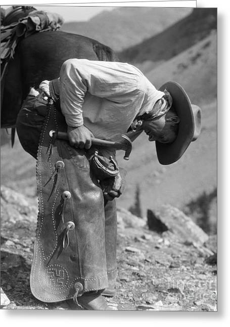 Cowboy Shoeing A Horse, C.1920-30s Greeting Card by H. Armstrong Roberts/ClassicStock