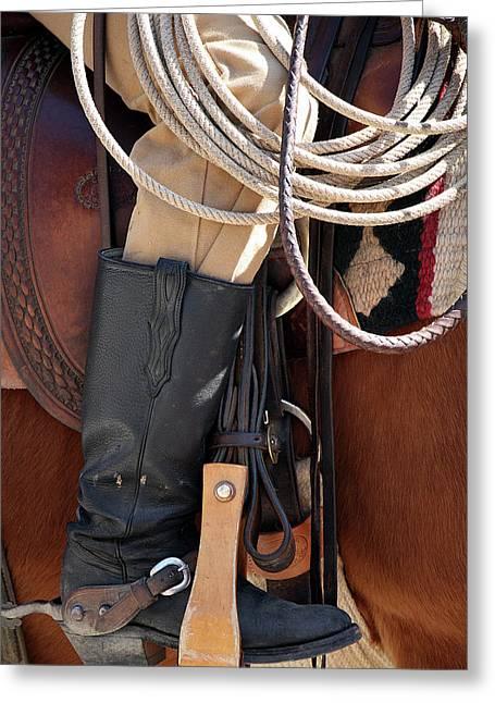 Cowboy Tack Greeting Card by Joan Carroll