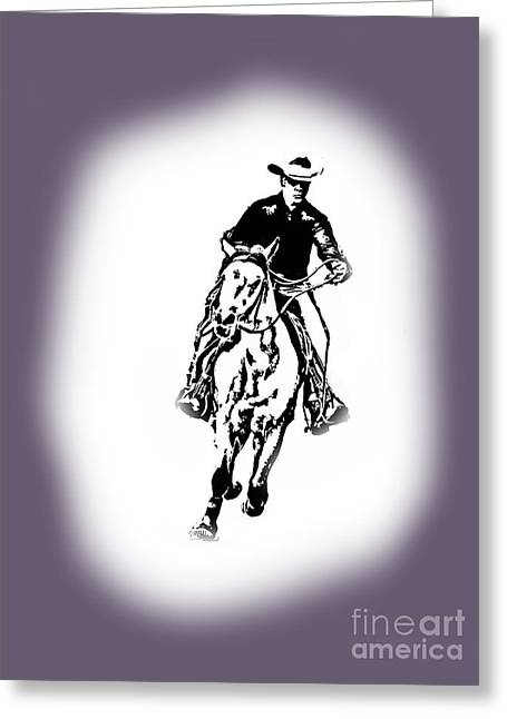 Horse Greeting Cards - Cowboy - Textile Design by Valentina Miletic Greeting Card by Valentina Miletic