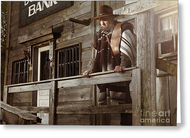 Grate Greeting Cards - Cowboy Waiting Outside of a Bank Building Greeting Card by Oleksiy Maksymenko
