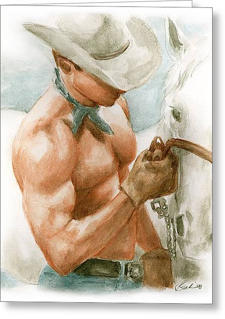 Bruce Lennon Greeting Cards - Cowboy Watercolor Greeting Card by Bruce Lennon