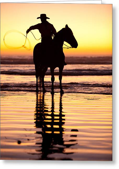 Sunrise On Beach Greeting Cards - Cowboy Greeting Card by Zarija Pavikevik